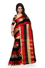 See More Cotton Banarasi Saree With Blouse For Women- Navy Blue Aura Black Red Leriya 003 - Women's Lifestyle
