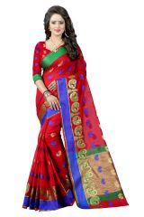 See More Self Design Red Banarasi Poly Cotton Saree - Gauri More Red