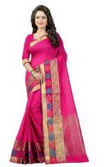 See More Self Design Pink Banarasi Poly Cotton Saree - Gauri Shisha Pink