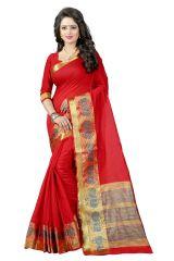 See More Self Design Red Banarasi Poly Cotton Saree - Gauri Tree Red