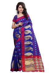 See More Self Design Blue Color Banarasi Poly Cotton Saree With Blouse Piece HAKA KERY BLUE 1