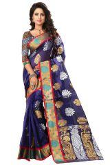 See More Self Designer Blue Color Kolam Patta Saree With Blouse Piece Haka Kolam 2 Blue