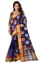 See More Self Designer Blue Color Kolam Patta Saree With Blouse Piece Haka Kolam 3 Blue