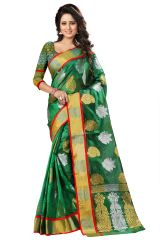 See More Sarees (Misc) - See More Self Designer Green Color Kolam Patta Saree With Blouse Piece Haka Kolam 3 Green