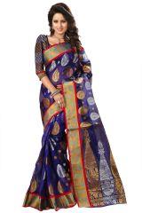 See More Self Designer Blue Color Kolam Patta Saree With Blouse Piece Haka Kolam 4 Blue