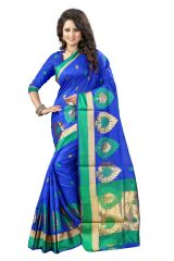 See More Self Designer Blue And Golden Color Poly Cotton Saree With Blouse Piece Haka Pan Blue( Product Code - Haka Pan Blue)