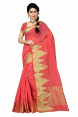 See More Self Designer Pink And Golden Color Poly Cotton Saree With Blouse Piece Raj Mountain Pink( Product Code - Raj Mountain Pink)