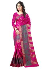 See More Self Designer Pink And Green Color Poly Cotton Saree With Blouse Piece Sathiya Kanjivaram (Code - Sathiya Kanjivaram 1 Pink Green)