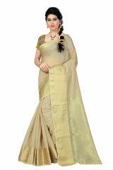 See More Self Designer Chiku And Golden Color Poly Cotton Saree With Blouse Piece Raj Bindi Chikku( Product Code - Raj Bindi Chikku)