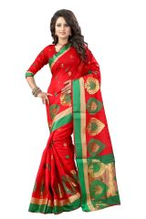 See More Self Designer Red And Golden Color Poly Cotton Saree With Blouse Piece Haka Pan Red( Product Code - Haka Pan Red)