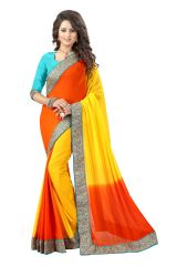 See More Georgette Sarees - See More Self Designer Yellow And Orange Color Georgette Saree With Blouse Piece Bansidhar Hp Yellow Orange( Code - Bansidhar Hp Yellow Orange)