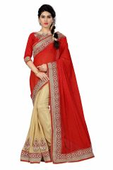 See More Women's Clothing - See More Self Designer Red And Chiku Color Georgette Saree With Blouse Piece Designer Red Chikku( Product Code - Designer Red Chikku)