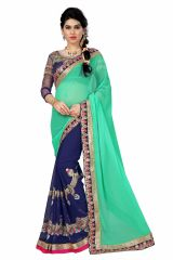 Women's Clothing - See More Self Designer Sea Green And Nevy Blue Color Georgette Saree With Blouse Piece(Code - Designer Sea Green Nevy Blue)