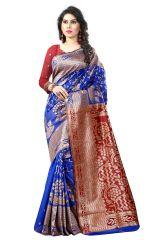 See More Self Designer Blue And Red  Color Tassar Silk Saree With Blouse Piece Sathiya Banarasi 9 Blue Red( Code - Sathiya Banarasi 9 Blue Red)