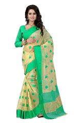 See More Women's Clothing - See More Self Designer  Color Blue Cotton Saree With Golden Border Kavya 1 Blue