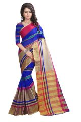 See More Self Designer  Blue  Color  Net Saree With Blouse Piece Manipuri 777 Blue