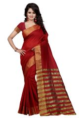 See More Self Designer Red Color Poly  Cotton Saree With Blouse Piece NIKILA RED