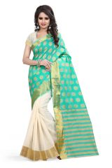 See More Self Designer Green  Color Poly  Cotton Saree With Blouse Piece PADAMSHREE 2 SEA GREEN