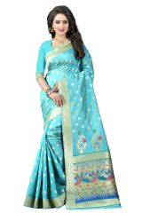 See More Silk Sarees - See More Sky Blue Color Paithani Silk Saree Paithani 1 Sky Blue