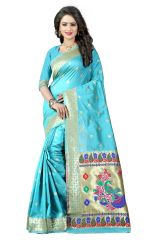 See More Silk Sarees - See More Sky Blue Color Paithani Silk Saree Paithani 3 Sky Blue