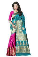 See More Turquoise Color Self Design Art Silk Woven Work Saree Pari 2 Rama Pink