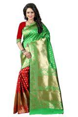 See More Light Green Color Self Design Art Silk Woven Work Saree Pari 3 P Green Red
