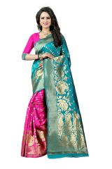 See More Turquoise Color Self Design Art Silk Woven Work Saree Pari 4 Rama Pink