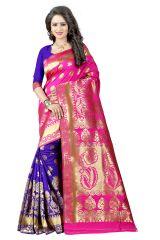 See More Pink Color Self Design Art Silk Woven Work Saree Pari 5 Pink Blue