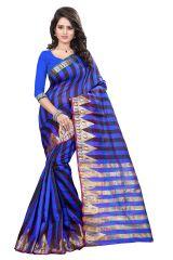 See More Self Designer  Blue  Color  Cotton Saree With Blouse Piece Raj Amarjyoti 2 Blue
