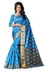 See More Self Design  Firozi Color Banarasi Saree Raj Butti Firozi.