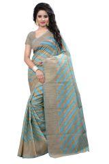 See More Self Design Sky Blue Banarasi Cotton Saree