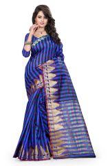 See More Self Designer  Blue  Color  Cotton Saree With Blouse Piece Raj Crekel 2 Blue
