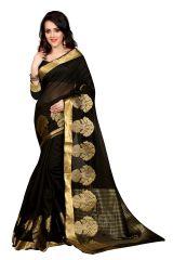 See More Self Design Black Colour Poly Cotton  Banarasi Saree With Blouse For Women Raj_Pot_Black