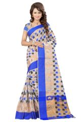 See More Self Designer Blue Color Poly Cotton Saree With Blouse Piece Sathiya Cottan Blue