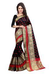 See More Women's Clothing - See More Self Designer Black Color Banarasi Poly Cotton Saree With Blouse Piece Sathiya Designer Black