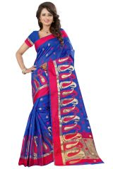 See More Self Designer Blue Color Poly Cotton Saree With Blouse Piece Sathiya Mango Blue