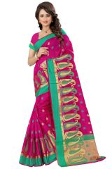 See More Self Designer Pink Color Poly Cotton Saree With Blouse Piece Sathiya Mango Pink