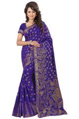 See More Self Designer Blue Color Kolam Patta Saree With Blouse Piece Sathiya wel Blue