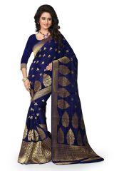 See More Self Design Blue Color Banarasi Saree - Women's Lifestyle