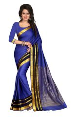 See More Self Design Blue Color Banarasi Saree Sharma Aura Blue Plain