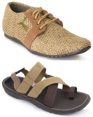 Combo of Semana Jute Casual shoes in Tan and Sandals in Brown