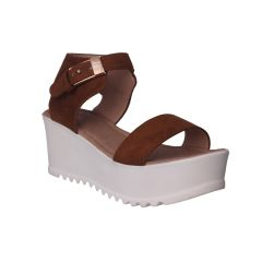Flora Comfort Wedge Heeled Tan Sandals (Code - PF-1019-07)