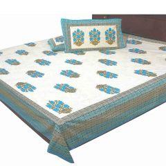 Pioneerpragati Dark Cyan And Olive And Cream Jaipuri Floral Print Pure Cotton Double Bedsheet Set