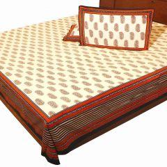 Pioneerpragati Cream And Black Hand Block Print Pure Cotton Double Bedsheet Set