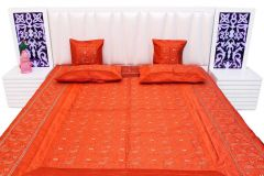 Pioneerpragati Orange Embroidered Poly Dupion Silk Double Bed Cover