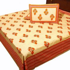 Pioneerpragati Cream And Pink Trellis Print Pure Cotton Double Bedsheet Set