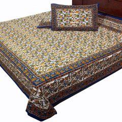 Pioneerpragati Multicolor Cute Rajasthani Elephant Print Pure Cotton Double Bedsheet Set