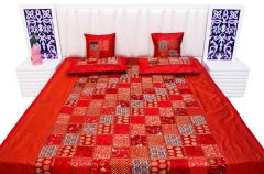 Pioneerpragati Red Chess Border Design Poly Dupion Silk Double Bed Cover