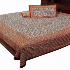 Pioneerpragati Brown And White Floral And Leafy Print Pure Cotton Double Bedsheet Set
