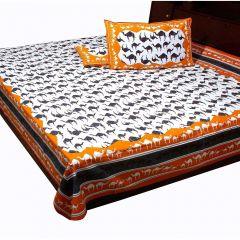 Pioneerpragati Orange And Grey Handloom Print Pure Cotton Double Bedsheet Set